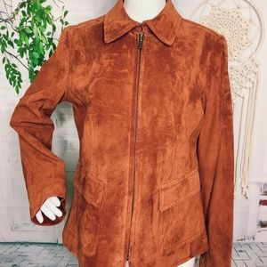 Women's Brown M 100% Suede Jacket Zip Front NWT